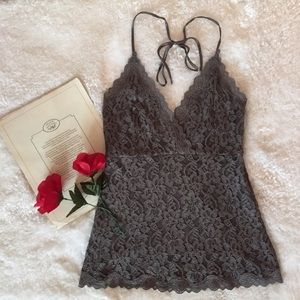 Lace V Neck Halter Top (The Limited)